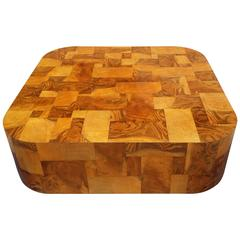 Paul Evans Signed Cityscape Burl and Chrome Monumental Coffee Table