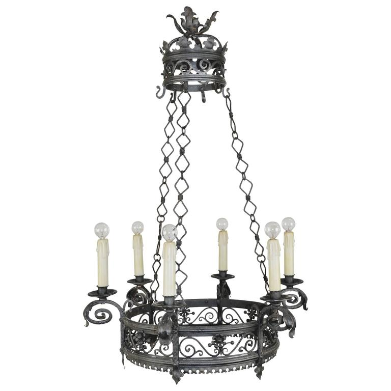 French Wrought Iron Six-Light Chandelier