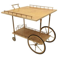 Aldo Tura Parchment Drop-Leaf Bar Cart
