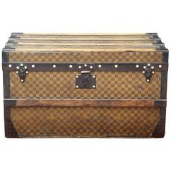 Antique 19th Century Louis Vuitton Yellow Damier Steamer Trunk