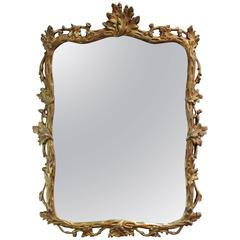 French Louis XV Style Giltwood Mirror Neoclassical, circa 1950