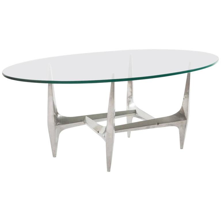 Large Oval Coffee Table by Knut Hesterberg, Glass Aluminum, 1970