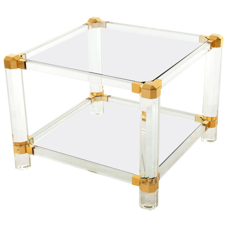Coffee or Side Table, Lucite Glass Gold Brass, 1970 For Sale