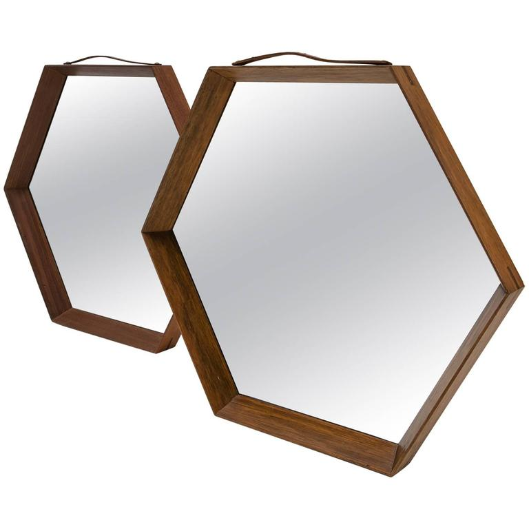 Pair of Hexagonal Teak Mirrors For Sale