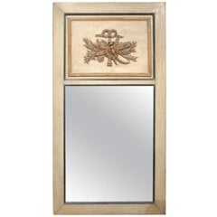 19th Century French Trumeau Mirror with Trophy, Custom Painted