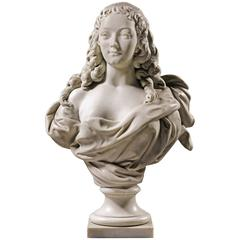 Carved Marble Bust of a Young Noble Lady, French, 19th Century