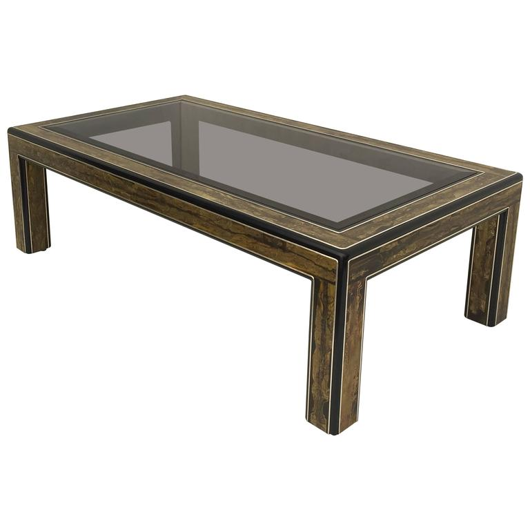 Bernhard Rohne Acid Etched Brass Coffee Table for Mastercraft