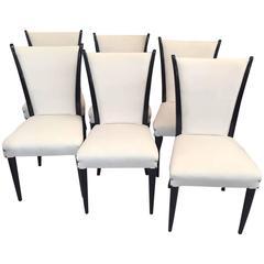 Set of Six Italian Art Deco Chairs