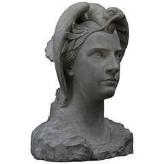 Carved Stone Bust of Apollo, Art Deco, French, circa 1930