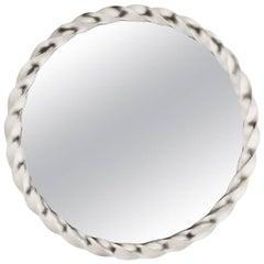 Round Silver Leaf Twisted Mirror