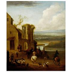 Hunting Meet in the West of England, A Large 18th Century English Oil Painting