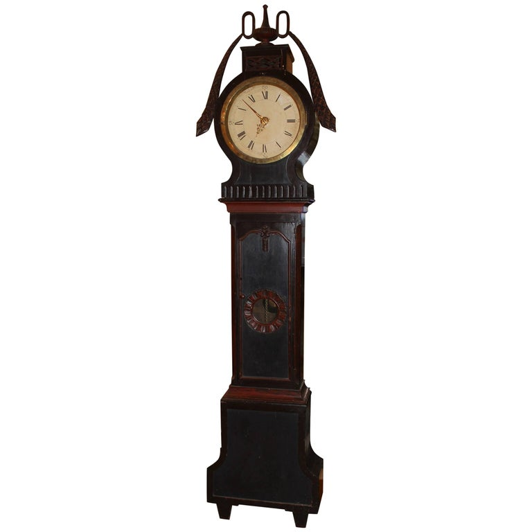 19th Century Swedish Tall Case Clock with Painted Case For Sale