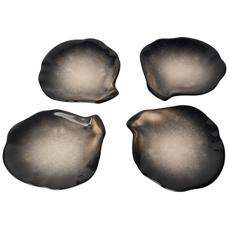 Pol Chambost Four Ceramic Sea Shell Plates, 1950s For Sale