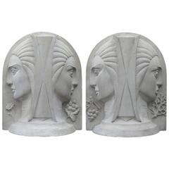 Pair of Art Deco Heads Representing the Four Seasons, French, circa 1930