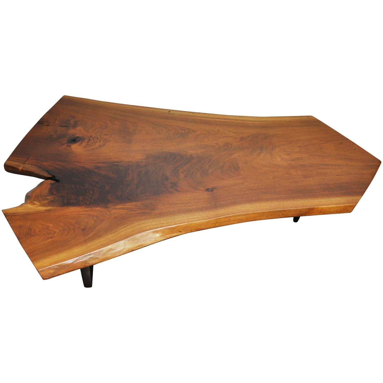 George Nakashima Walnut Slab Conoid Coffee Table For Sale At 1stdibs
