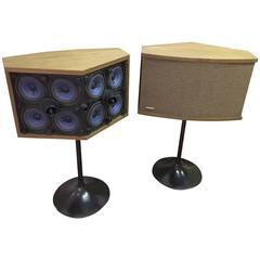 Pair of Bose 901's Walnut Speakers on Eero Saarinen Tulip Pedestals, circa 1968