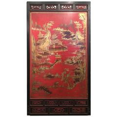 Massive Red Chinese Lacquer Panel with Gold Landscape and Fret