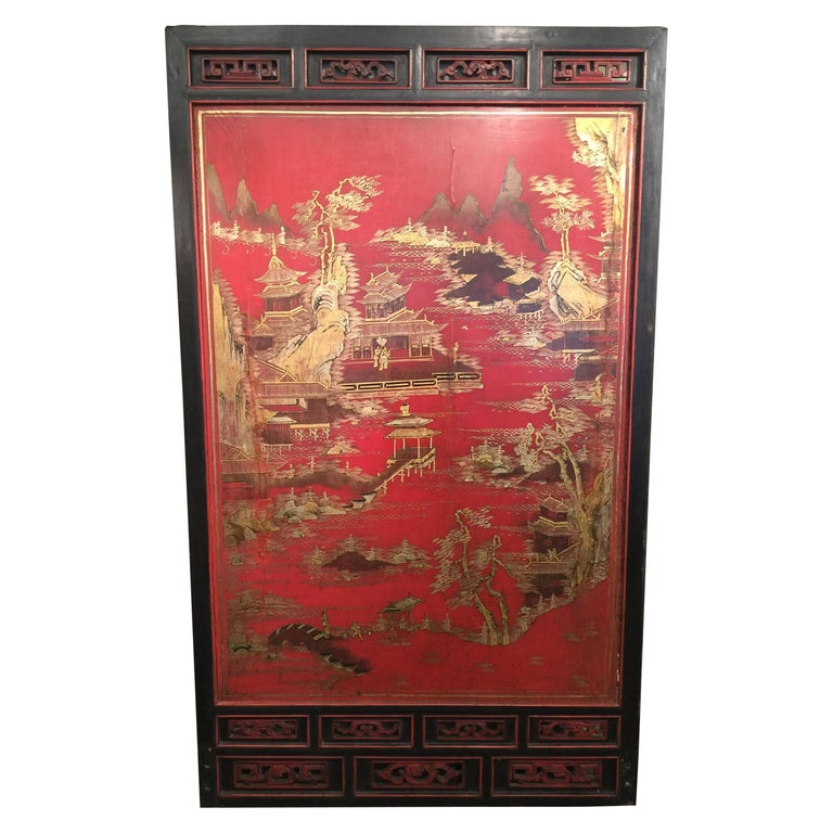 Antique Chinese Red Lacquer Landscape For Sale