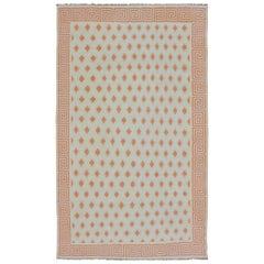 Vintage Indian Cotton Dhurrie Large Designer Rug  12'11 x 121'3