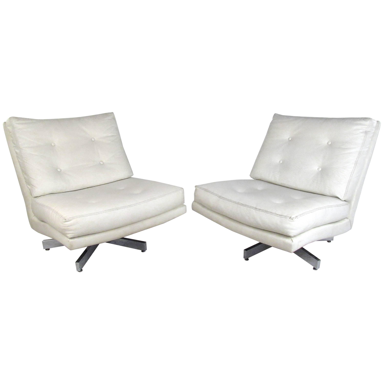 Mid-Century Milo Baughman Swivel Lounge Chairs for Thayer Coggin