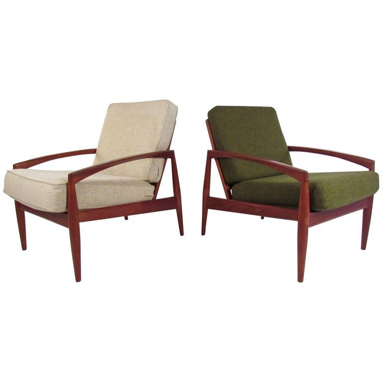 Pair of Kai Kristiansen Lounge Chairs, Mid-Century Danish Teak