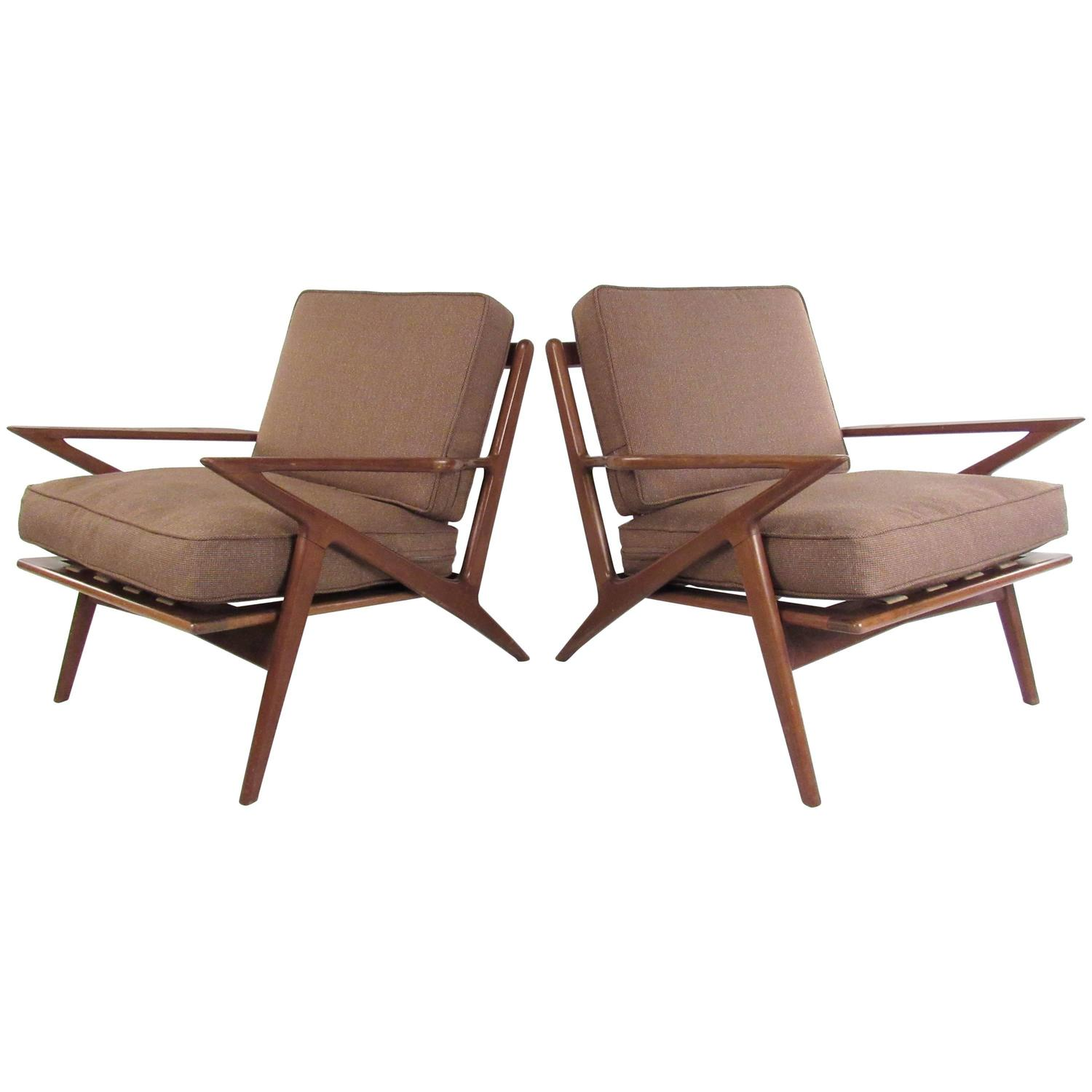 Pair of mid century poul jensen style z chairs at 1stdibs for Z chair mid century