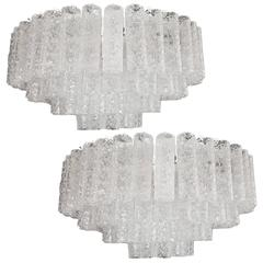Pair of Molded Glass Light Fixtures
