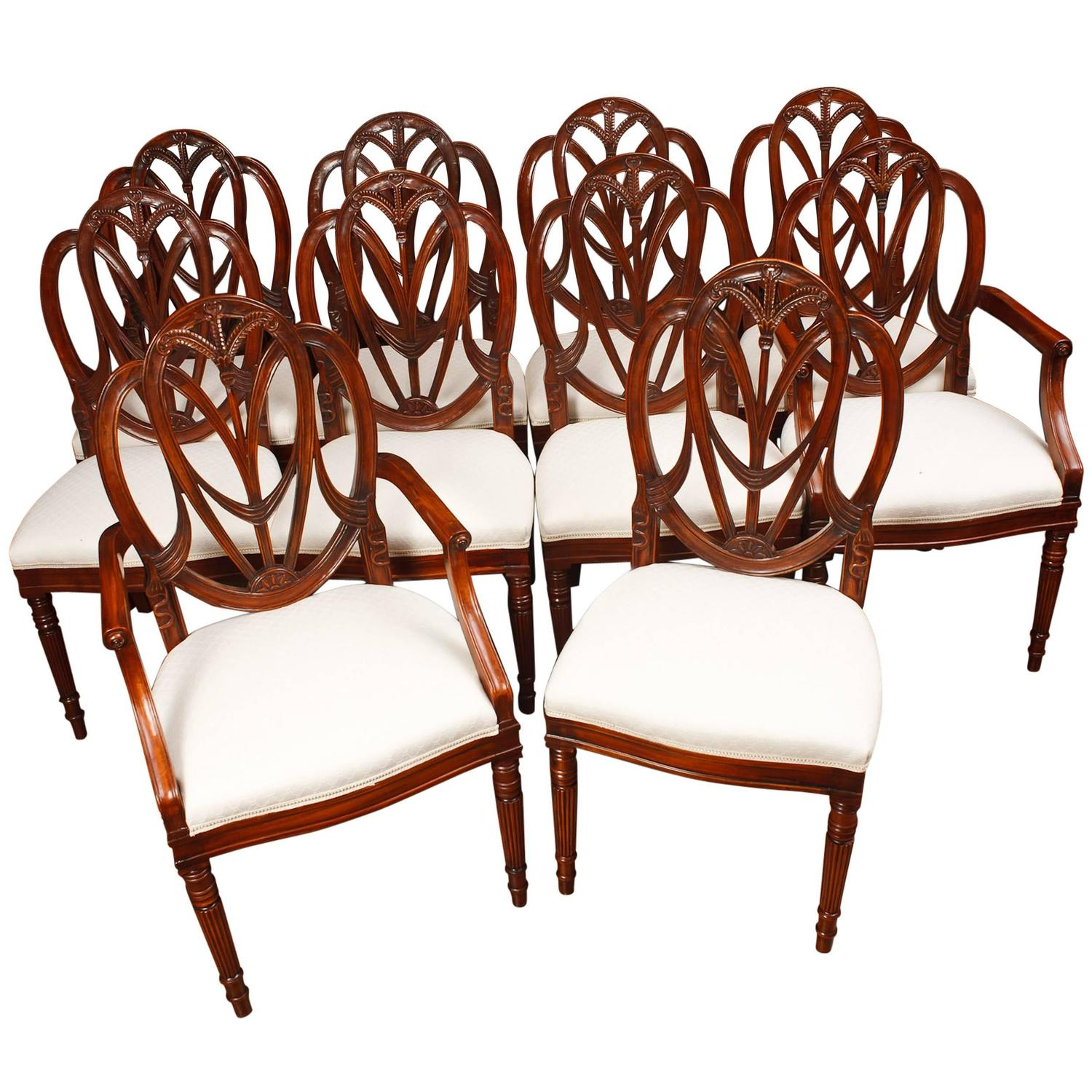 Set of Mahogany Hepplewhite Style Dining Chairs at 1stdibs