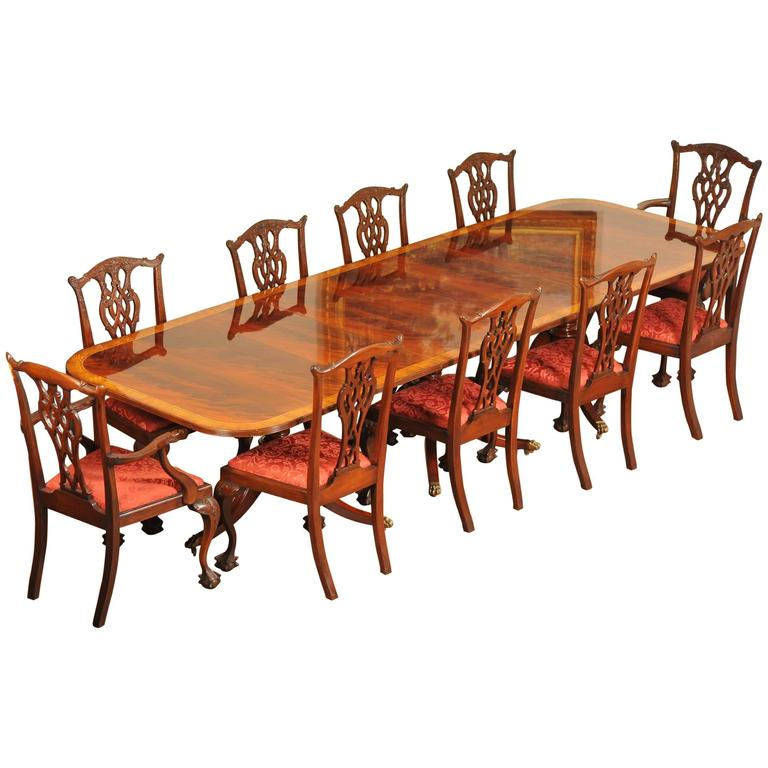 Regency Style Dining Set Pedestal Table And Ten