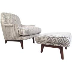 Mid-Century Roger Sprunger for Dunbar Lounge Chair with Ottoman