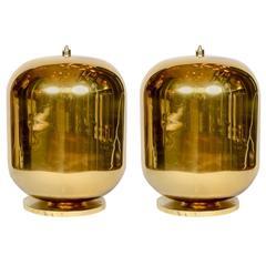 Imposing Pair of Golden Murano Glass Lamps