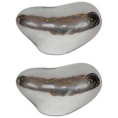 Nice Pair of Free Shape Vincenzo Nason Murano Glass Silver Lamps