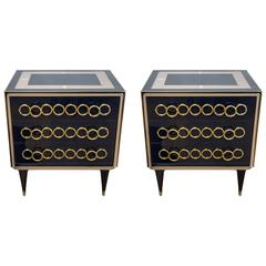 Pair of Navy Blue Mirror Vintage Commodes