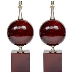 Nice Pair of Burgundy Maison Barbier Lamps