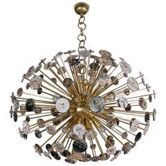 Brass and Ocean Jasper Oval Chandelier