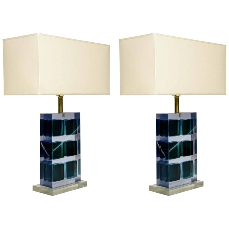 Unusual Pair Of Murano Glass And Resin Table Lamps For