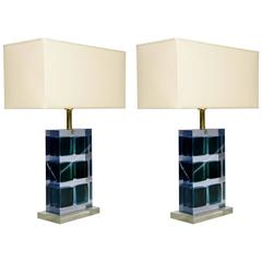 Unusual Pair of Murano Glass and Resin Table Lamps