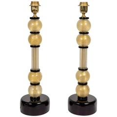 Pair of Table Lamps in Murano Glass Signed by Toso.