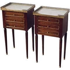 Pair of French Nightstands with Marble Tops 'Individually Priced'
