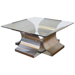 French Modern Francois Monnet Steel and Glass Cocktail Table, 1970