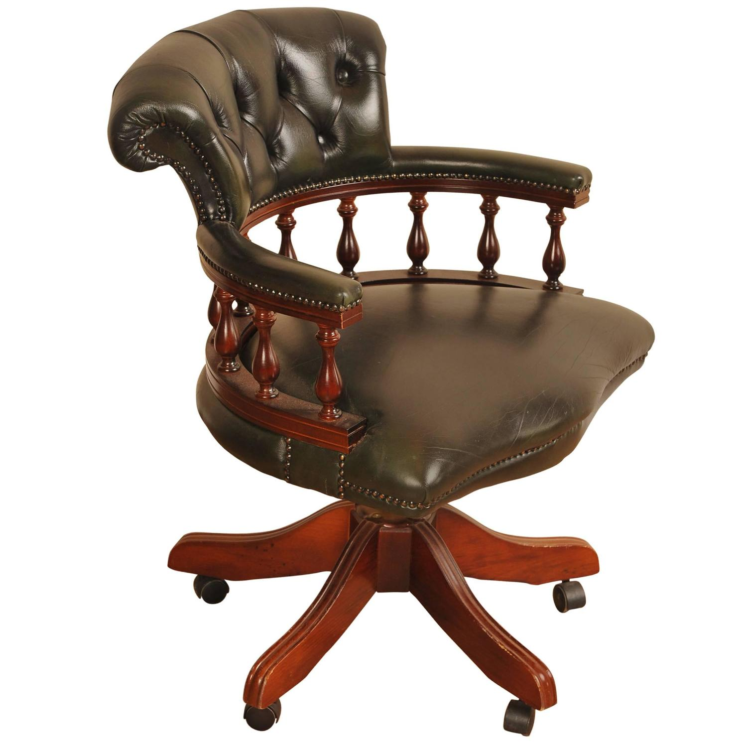 Leather Captains Tub Chair Swivel Office Desk Seat For