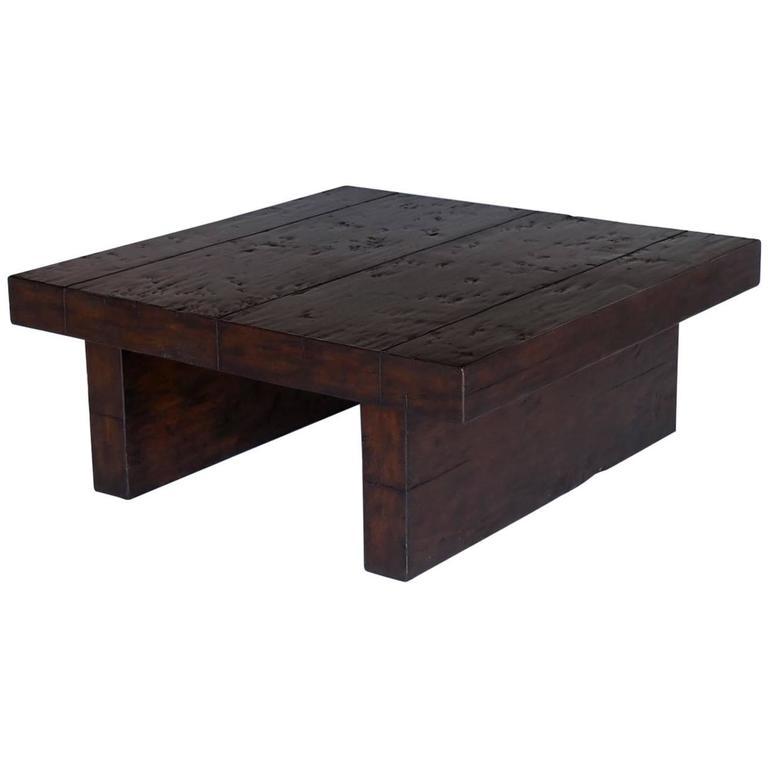 Dos Gallos Custom Contemporary Walnut Wood Coffee Table