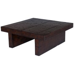 Dos Gallos Custom Contemporary Walnut Wood Coffee Table