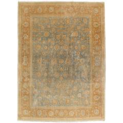 Antiker Kerman Teppich, Allover Persischer Handgefertigter Teppich, Hellblau, Elfenbein