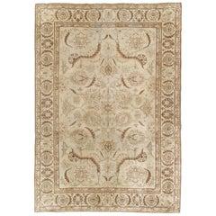 Antique Tabriz Carpet, Fine Handmade Oriental Rug, Pale Blue, Taupe, Brown