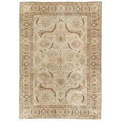 Antique Tabriz Carpet, Fine Handmade Oriental Rug, Pale Blue, Taupe, Brown