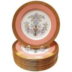 Gilt and Enameled Service Dinner Plates, Early 20th Century