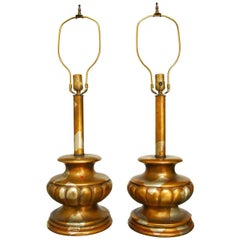 Pair of James Mont Camouflage Gilt Table Lamps