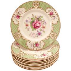 "Myott ""Staffordshire Rose"" Green Plates, Set of 12"