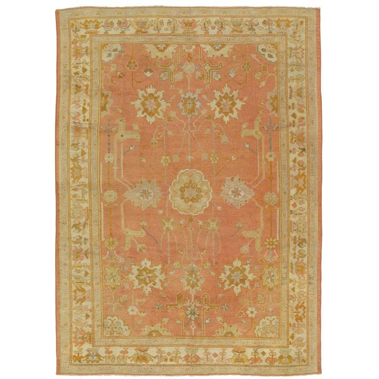 Antique Oushak Carpet, Handmade Oriental Rug,Pink Rug